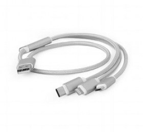 Cablu 3-in-1 md MicroUSB Lightning Type-C-AM Cablexpert CC-USB2-AM31-1M-S1.8m, SILVER