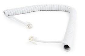 Cablu RJ45 Telefoane fixe Gembird Telephone handset spiral cord RJ10 2m White TC4P4CS-2M-W magazin telefoane Chisinau