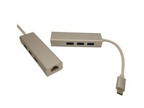 USB Adaptor de Retea Ethernet Adapter USB3.1 TYPE C to RJ45 + 3 x USB2.0 itunexx.md Chisinau